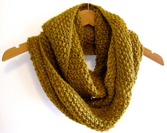 Hand Knit Seed Stitch Cowl, Yellow