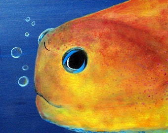 Original Acrylic MIDAS BLENNY FISH Painting with Bubbles