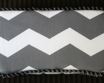 Custom Boutique Style Travel Wipe Case - Grey Chervon