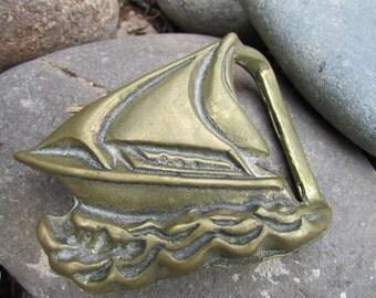 Vintage Brass Sailboat Belt Buckle