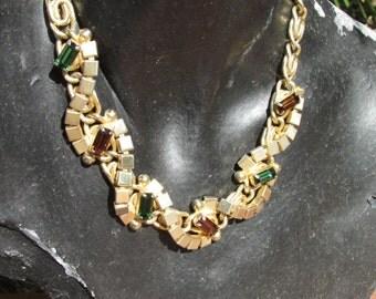 Vintage Mid Century Modern Gold Tone Colored Rhinestone Necklace