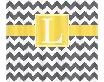 Personalized Chevron Shower Curtain With Monogram Initial-Grey-Lemon Zest-White OR Choose Colors-Standard & Extra long sizes available