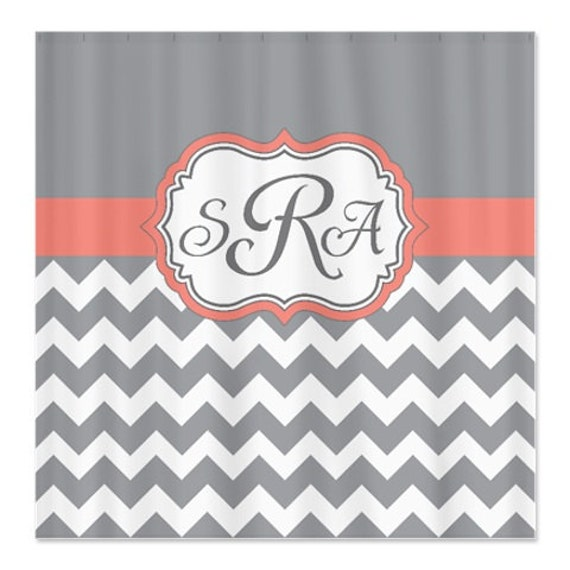 Coral Grey and White Chevron Shower Curtain-Personalized