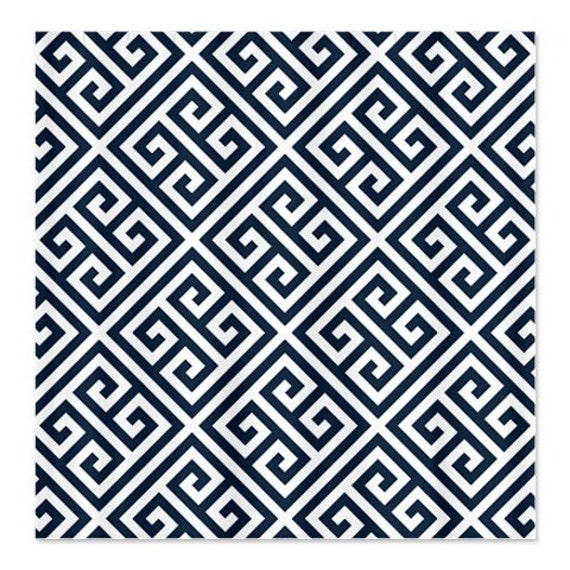greek key shower curtain-custom-navy blue and white or choose