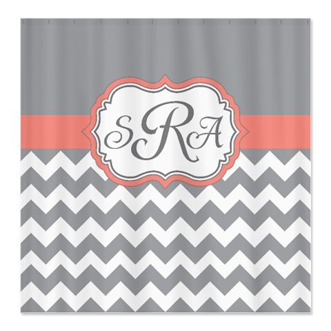 coral grey and white chevron shower curtain personalized. Black Bedroom Furniture Sets. Home Design Ideas
