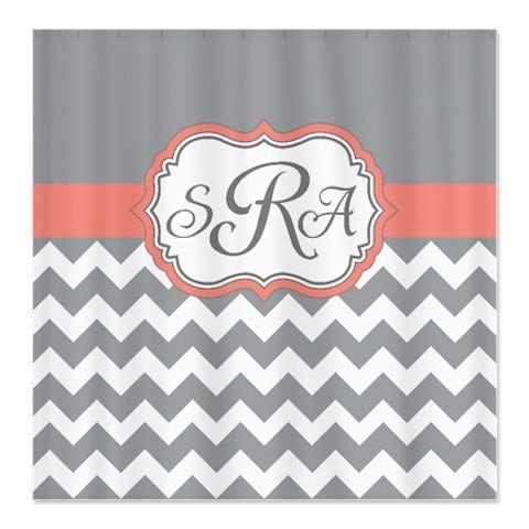 Coral Grey And White Chevron Shower Curtain Personalized