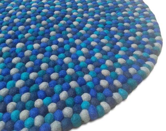 140 Cm Tapis Multicolore Boule De Feutre Par Handcraftnepal Sur Etsy