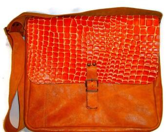 Orange Croco Laptop Bag, Handmade Laptop Bag, Leather Bag for Students, Office Bag, School Bag, Messenger Bag