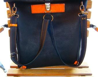 "Leather Backpack, Safety Closure 15""17""Vertical Laptop Ink Leather Backpack,Bikers Bag,4 way to Carry Bag, Shoulder Laptop"