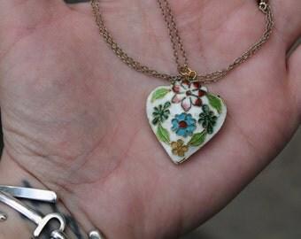 Vintage Costume Cloisonne Enamel Heart Necklace