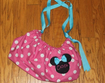 Red OR Pink Minnie Mouse Bag with Embroidery,Minnie Gift Bag