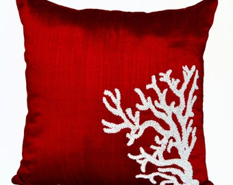 coral decorative throw pillow coral reef pillow oceanic pillow covers red white silk - Red Decorative Pillows