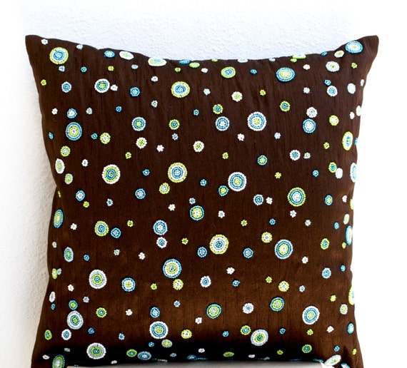 Items similar to Brown throw pillow with blue, green, white beads, Geometric pillows, Cushion ...