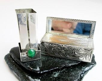1930s Art Deco Silver Lipstick Case w. Mirror & Genuine Chrysoprase Cabochon, Hand Engraved, Unclear Peruzzi Hallmarks, Florence Italy.