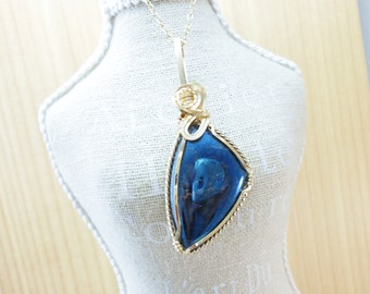 Rare Covellite Pendant 14k Gold Filled Wire Wrap