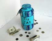Hand Painted Tip Jar with Blue Stripes Recycled Jar Upcycled Money Jar - FeathandKee