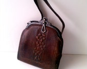 RESERVED Brown Leather Handbag Purse with Metal Closure Tooled Arts And Crafts Bosco Built Purse Edwardian Steampunk metal Turn Lock