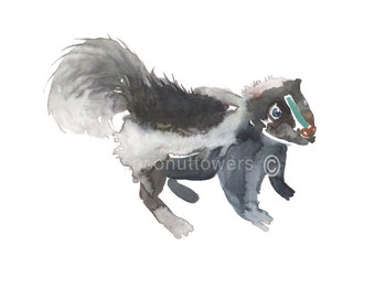 Children's Art  - Skunk  Baby - Animal Paintin - Size 8x10in - Nursery Art Print - from an Original Watercolor  Painting