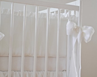 White Crib  bedding, linen crib bedding -  2 pcs- gathered skirt, 4 side bumper - Nursery bedding