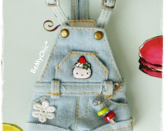 Awesome Blythe Dress Outfit Washed Denim Shorts Overall - Special Edition Hello Kitty