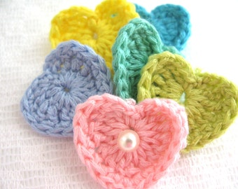 12 Pastel Crochet Heart Appliques Heart Embellishments Pretty Packaging