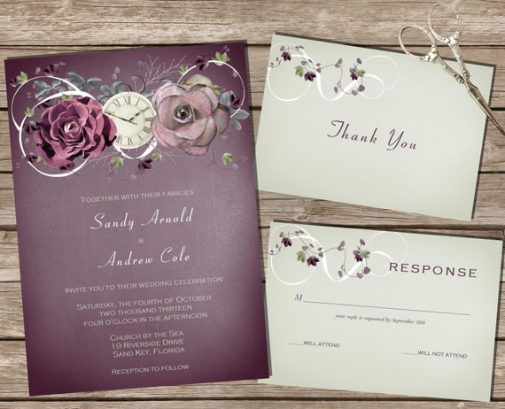 Wedding Invitations Kit: PRINTABLE Wedding Invitation Kit Purple/Sage