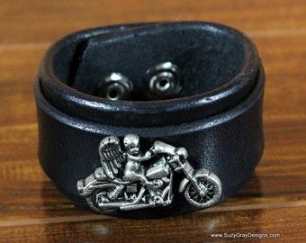 Bike Bracelet, Black Leather Biker Cuff - Bike Leather Bracelet - Leather Biker Cuff - Black Leather Biker Cuff