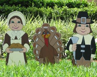 Thanksgiving Pilgrim Couple and Turkey