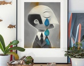 Pride. Real men sometimes cry. Illustration art giclée print signed by the artist. A2 poster.