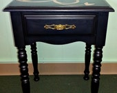 Black side table with reverse stencil - ValerysGallery