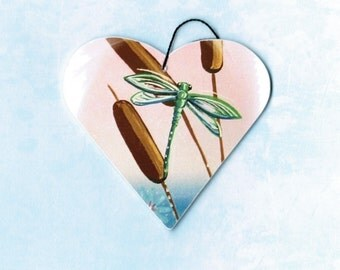Dragonfly, Dragonfly Ornament, Dragonfly Magnet, Dragonflies, Green Dragonfly, Blue Dragonfly, Christmas Ornament, Tree Ornament, Heart