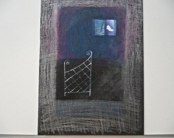 SALE: Original Art, Collage, Blue, Silver, Black, Charcoal - Collage Art, Original, Found Paper, Pastel, Watercolour Pencil