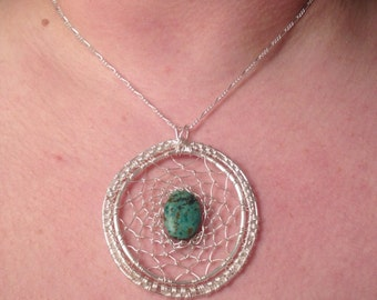 """Turquoise and silver dreamcatcher pendant- 2"""""""