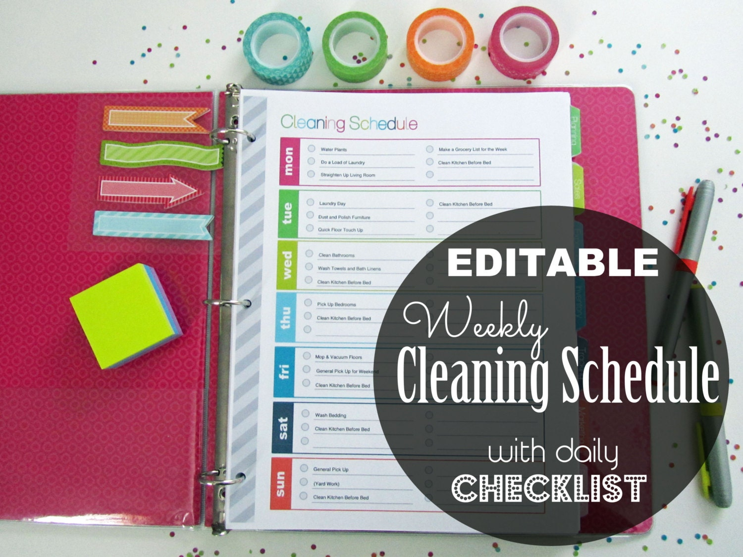 Editable weekly cleaning schedule checklist by cleanlifeandhome for Editable cleaning schedule