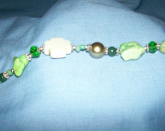 Cowgirl Bracelet - Chunky Candy Apple Green Turquoise with Glass, Faux Pearl, and Crystals