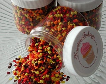 Mini Fall Leaves Sprinkle Mix-Comes in an assortment of red, yellow, orange, and brown leaves.