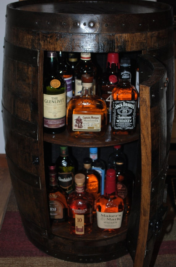 Whiskey Barrel Liquor Cabinet With Double Lazy By Barrelworx