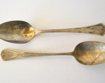 two silver plate serving spoons - monogrammed flatware