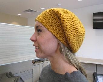 Crochet Slouchy Beanie - Mustard Yellow