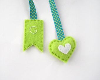 Initial bookmark, green heart book mark, personalized felt bookmark, mini heart, hand embroidered