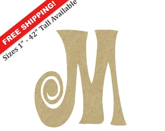 """Curly Wooden Letter """"M"""" – Unfinished, Unpainted, Decorative Font -- Perfect for Crafts, DIY, Nursery, Kids Rooms, Weddings – Sizes 1"""" to 42"""""""
