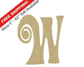 """Curly Wooden Letter """"W"""" – Unfinished, Unpainted, Decorative Font -- Perfect for Crafts, DIY, Nursery, Kids Rooms, Weddings – Sizes 1"""" to 42"""""""