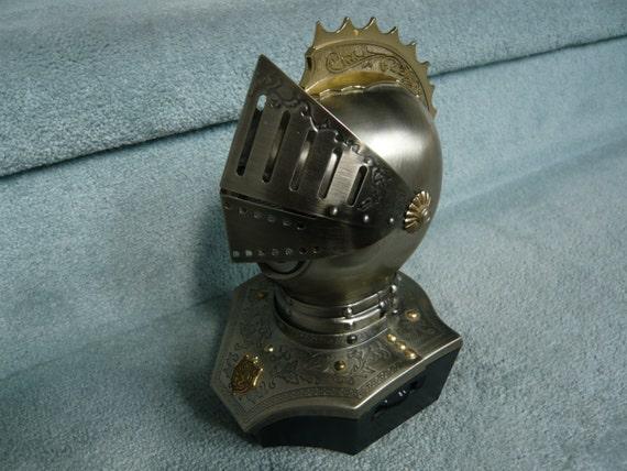 Vintage Knight's Head Armour Helmet Trainsistor Radio