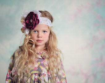 Flower Girl Headband, Little Girl Headband Made to Match Matilda Jane Clothing Line  Flower Lace Feathers and Rhinestones