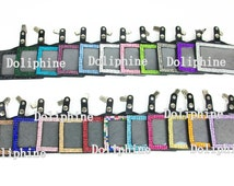 Colored Bling Rhinestone Horizontal ID Badge Holder with Metal Alligator Clip