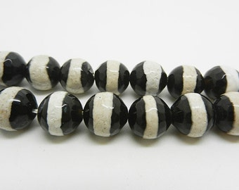 "15""  Black  White  Tibetan  Agate dZi  beads  faceted    10mm"