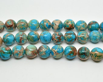 "16""   Blue   Imperial   Jasper   Round   Beads--10mm"