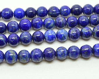 "16""  Natural Color  Lapis Lazuli  Round Bead  Gemstone --6MM 8MM"