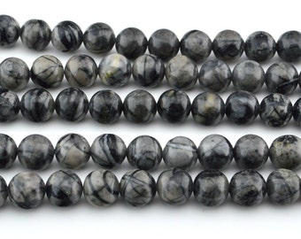 "16""  Black  Picasso Jasper  8mm   Round Beads"