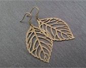 Vintage Ohrringe Blatt bronze klein